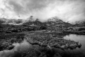 Idwal in the mist Monochrome by CharmingPhotography