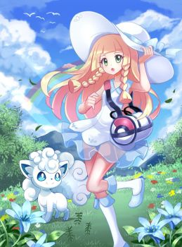 Pokemon Fanart Collab: Lillie and Alola Vulpix by PencilTales
