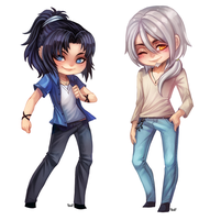 Cuties - chibi commission by clover-teapot