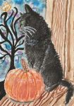 Halloween  black cat aceo watercolor painting by tulipteardrops