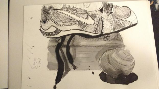 watercolor line and line+wash still life by Snipertomcat