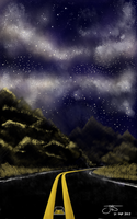 Study - Milky Way Above Open Road - 21 Sept. 2017 by nonecansee