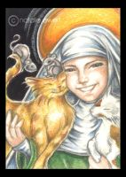 St Gertrude And Cats by natamon