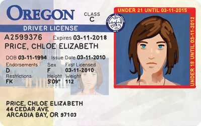 LiS Before the Storm - Chloe Price Driving License by RobinLe