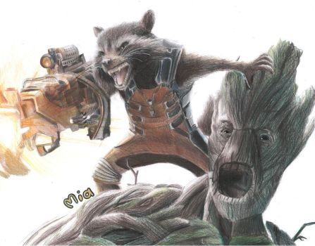 Rocket and Groot by MayTheForceBeWithYou