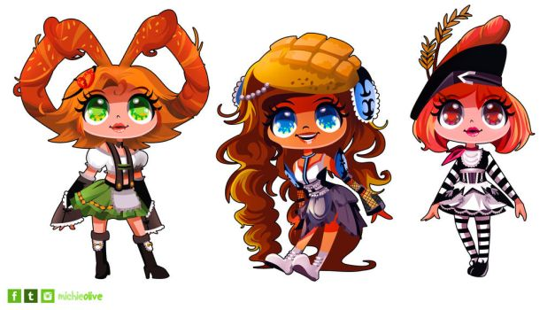 Adoptable - Bread Girls (auction / OPEN) by mi-chie
