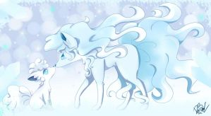 Ninetales and vulpix Alola form by Vale28ART