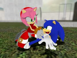 A Sonic and Amy Tickle Moment by wantwon