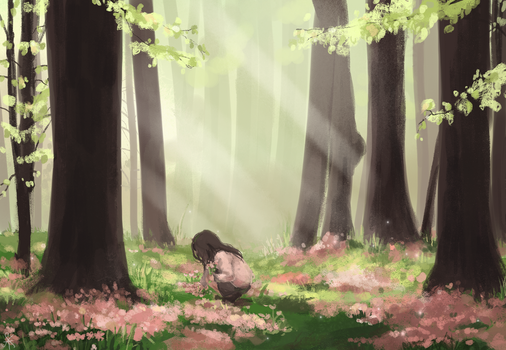 Spring in the woods by Xeyni