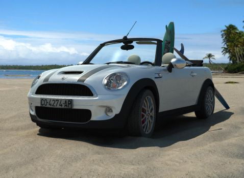 Mini Cooper on beach by pablete