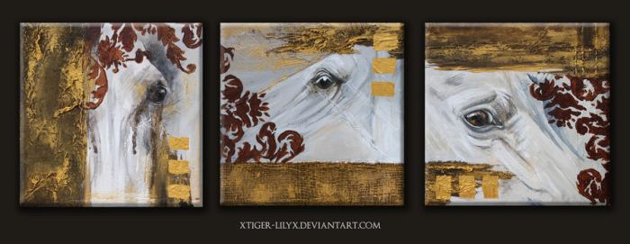Triptych of eyes by JulieBales