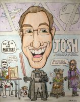 Josh 40th birthday Caricature by artbylukeski