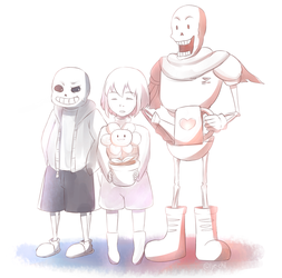 Frisk and the Skelebros by Lye-chii