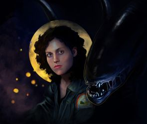 Ripley and her Xenomorph by SariSariola
