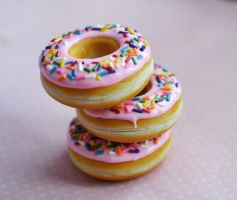 Strawberry Doughnut Polymer Clay Food Magnets by ScrumptiousDoodle