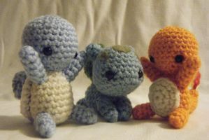 Kanto Starter Pokemon Amigurumi Set by yourstarrysky