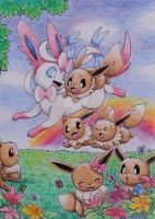 Sylveon with little eevees by Pikabulbachu