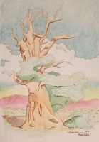 Desert Tree in Red Ink and Color Pencil by Bamberos