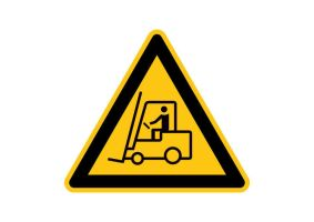 Caution Forklift Trucks Operating Vector Sign by superawesomevectors