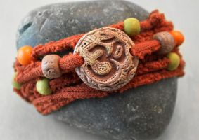 Clay Om Wrap Bracelet with Upcycled Sweater Yarn by OneUrbanTribe