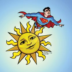 Superman and the Sun by lyssaspex