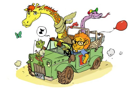 Leo the Lion and his green jeep by kreska