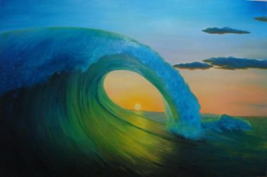 perfect wave at sunset II by MauroZED