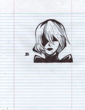 2B Nier pen sketch by MikaelaStar