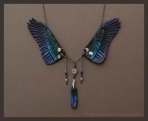 Dusk Raven - Leather Wing Necklace by windfalcon