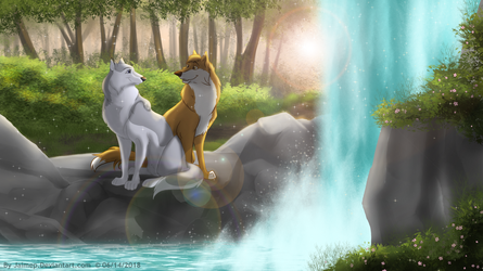 Waterfall wolves by Jaimep