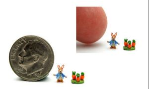 MICRO BUNNY RABBIT DOLL TOY by WEE-OOAK-MINIATURES
