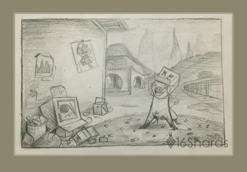 Pig Character Background Sketch by 16Shards