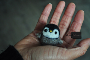 Needle felted baby penguin by FluffyParcel