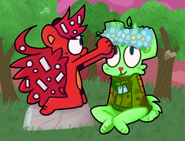 .-Flippy and Flaky -[HTF FanART]-. by SnowyAcorN