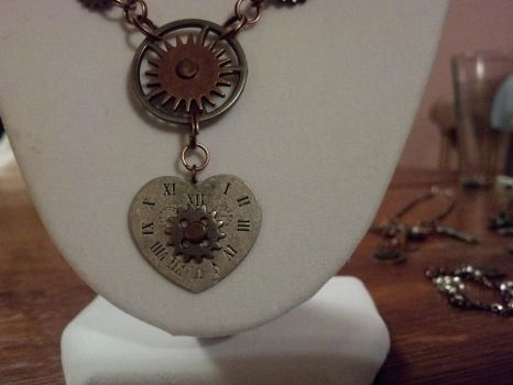 Steampunk Heart Clock and Gear Necklace Closeup by bookerboots