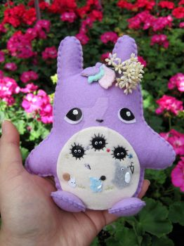 Lilac Spring/Summer Totoro Inspired Plushie by PacaBearsCafe