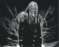 Sephiroth Scratchboard by AMRKey