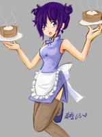Chinese Waitress by dementedmonkey