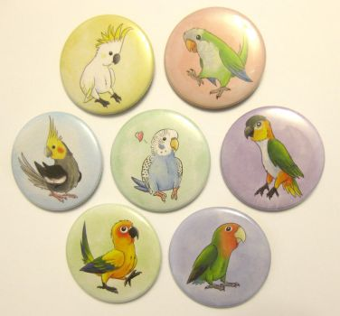 Parrot Badges/Buttons by Kosmotiel