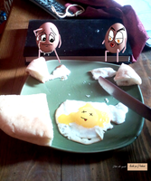 sharing breakfast with eggs by hillllallll