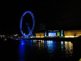 River Thames landscape in the night. London Eye. by YourLadyQueenObscene