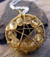 Citrine Wire-Wrapped Pentacle by MoonLitCreations