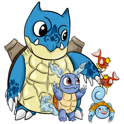 Squirtle's Familly by Skyechu
