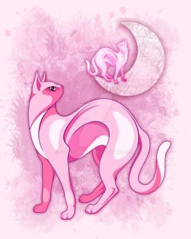 Pink Cat Mood by Bluedarkat