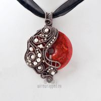 Asymmetric coral donut pendant by ukapala
