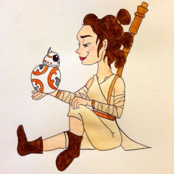 Rey and BB8 by SkipperSara