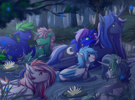 YCH Auction with Princess Luna and colts! by 1AN1