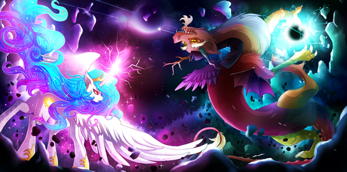 Celestia vs. Discord by Invidiata