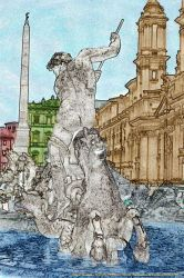 The fountain of Piazza Navona in Rome by Book-Art