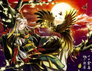 Jin Wu, three legged crow, Chinese God of the sun by Xualwqy